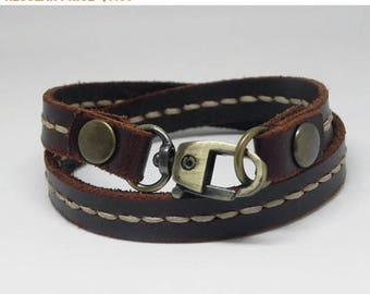 Leather Bracelet Leather Wrap Bracelet with Metal Alloy Clasp Hand Stitched in brown