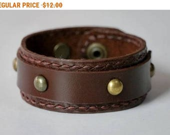 Brown Leather Cuff Leather Bracelet Leather Bangle with Snap Button