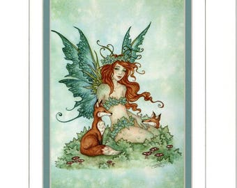 Hand Accented fairy and fox 5x7 matted 8x10 by Amy Brown