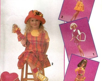 Vintage Simplicity 8566 UNCUT Barbie for Girls and Doll Jumper, Belt and Heart Backpack Sewing Pattern