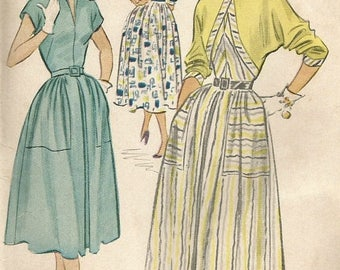 ChristmasinJuly Vintage 50s McCalls 9440 UNCUT Misses MidCentury Bolero Full Skirt Dress with Large Pockets Sewing Pattern Size 18 Bust 36
