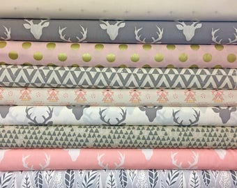 Pink, Grey, Gray, Baby, Girl, Custom, Bundle, Deer, Triangle, Buck, Woodland, Hello, Bear, Urban, Fabrics, Modern, Rustic, Choose, Your, Cut