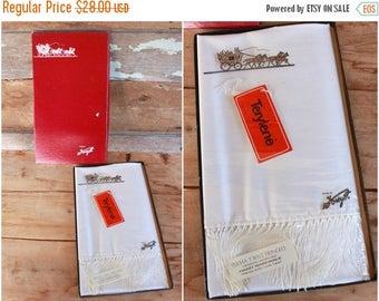 SALE 1960s opera scarf by Forsyth | vintage white tuxedo scarf | NIB never worn