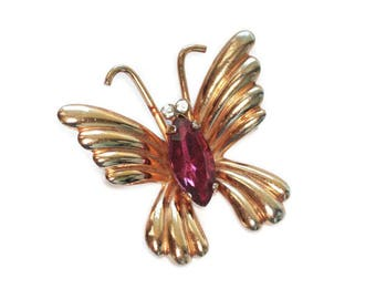 Small Dark Pink Rhinestone Butterfly Pin Signed Coro Vintage