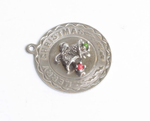Sterling Merry Christmas Charm Bells Dimensional Red and Green Vintage