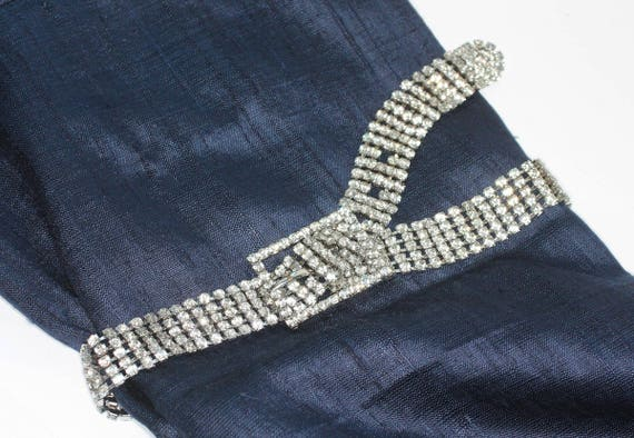 Clear Rhinestone Belt Prong Set Stones Size 29 to 32 Inch Waist Vintage