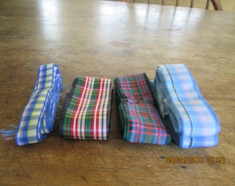 Ribbon, vintage ginghams 4 pieces 1 price. 2-5 yards each 1940's