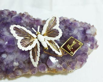 Sale 15% Estate Monet Butterfly Brooch Tag White Gold