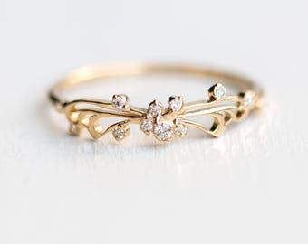 Diamond Small Changes Ring // Butterfly Stacking Ring with Tiny White Diamonds in Solid 14k Gold // Diamond Butterfly Wedding Band