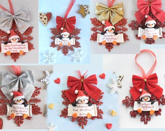 Personalized baby's first Christmas ornament - Penguin, owl or bunny - ornament christmas tree baby child kid's room decoration Santa red