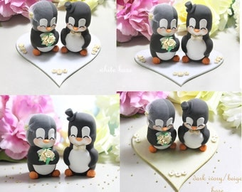 Bride and groom figurines +felt base/stand - unique wedding cake toppers Penguins ivory gold decorations elegant anniversary birdcage