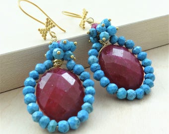 Ruby Earrings, Turquoise Earrings, Statement Earrings, Gifts For Her, Bridal Jewelry, July Birthstone