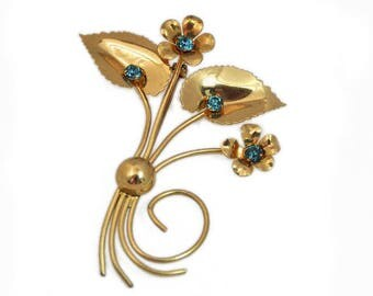 1940s Gold Plated Aqua Rhinestone Double Flower Large Retro Vintage Brooch Pin