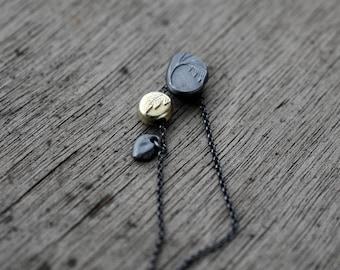 Keepsake Fern Pebbles in oxidised silver & brass pendant necklace