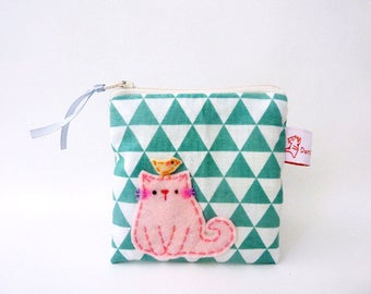 coin purse, cat coin purse, geometric pouch, cat zipper pouch, small change purse, cat wallet, mint, coin pouch, cat pouch, pouch