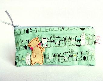 Pencil case, pencil pouch, zipper pouch, pencil bag, cat pencil case, makeup case, cotton pouch, cat pencil pouch, pouch