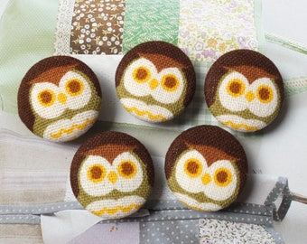 Geometry Geometric Brown Yellow Orange Big Eye School Dr. Hoot Owls - Handmade Fabric Covered Buttons(0.98 Inches, 5PCS)