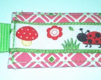 Pink Fabric Ladybug Keychain