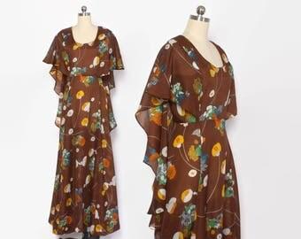 Vintage 60s MAXI DRESS / 1960s Bright Semi Sheer Floral Print Cape Back Boho Dress S