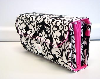Cash Envelope Wallet  / Dave Ramsey System / Zipper Envelopes -Black and White Damask Hot Pink Lining