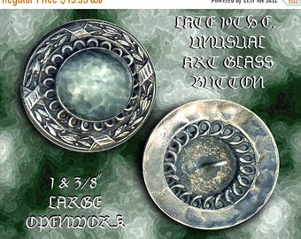 OH BOY SALE Button ~ Large Late 19th C. Neo-Renaissance White Metal and Milky Aquamarine Art Glass Jewel