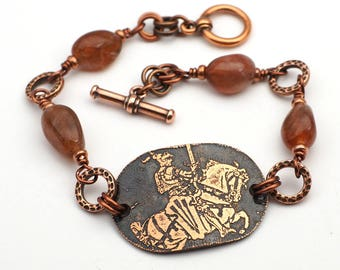 Knight bracelet, peach and gold color sunstone beads, horseback, etched metal, 7 3/4 inches long