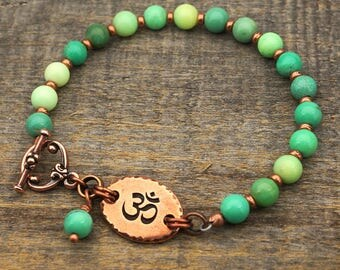 Pale green Om bracelet, semiprecious stone chrysoprase agate beads, copper, 8 inches