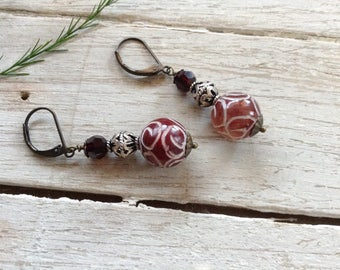 Boho Carved Red Jade And Silver Earrings