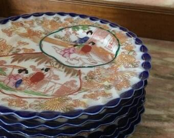 Christmas Sale Vintage Plate Set GEISHA GIRLS Japan Colorful Luncheon Breakfast 6 With Blue Ruffled Edge