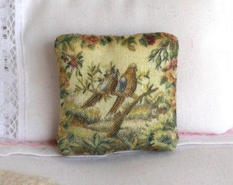 1:12 Pillow - Garden Scene on Olive - Handmade Dollhouse Scale Miniature - Shabby Cottage Chic *Free Shipping*