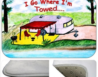 I go where I'm towed, retro air stream camper by the lake travel trailer kitchen or bathmat from my art