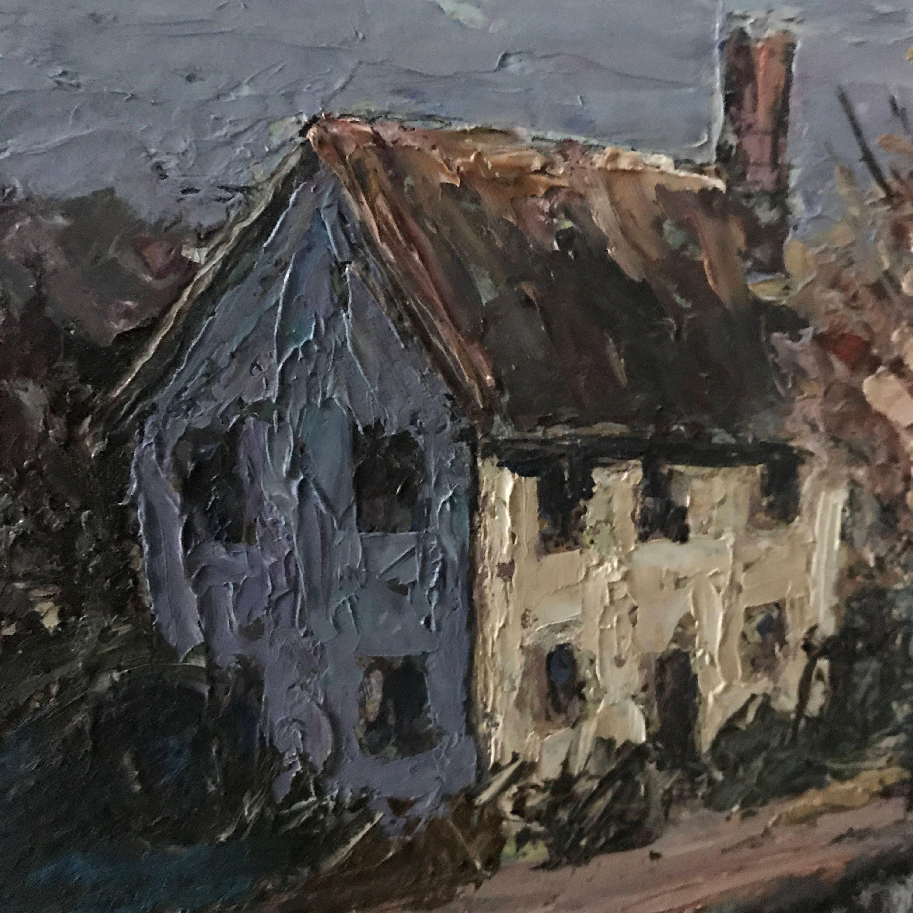 Oil Painting Cottage In The Woods Antique French Home