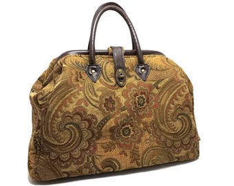 Large Mary Poppins Style Carpet Bag, Camel Tan, Gold, Abstract Floral Design, Travel Bag, Overnight Bag, Carry On Bag, Ready to Ship