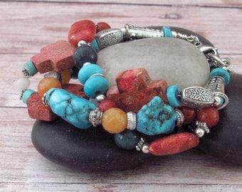 Layered Gemstone Bracelet - Gemstone Cross Bracelet - Gemstone Hippie Bracelet - Southwestern Gemstone Bracelet - Country Western Bracelet