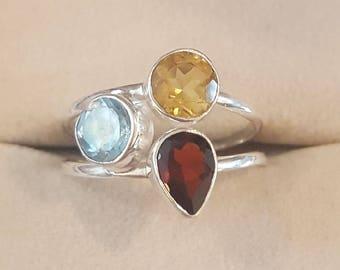 Vintage Sterling Silver Garnet, Citrine, and Blue Topaz Ring Size 8 1/2