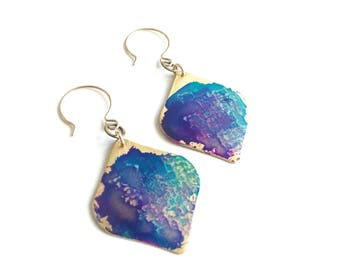 Violet Watercolor Patina Brass Diamond Earrings
