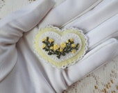 Cheerful / Sunny Handmade Felt White and Yellow Heart Shaped Brooch / Pin, Embroidered Yellow Roses, Pearl / Glass Beads, Embroidery, Beaded