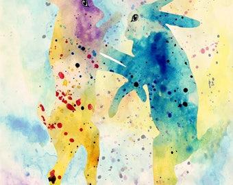 FIGHT art RABBIT art printing wattercolor texture illustration painting abstract love art rabbit