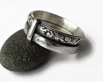 Key~&~Thistle Ring - Sterling Silver - Celtic - All Sizes - Sporran Key - Highlander Fan - Blacksmith - Scotland