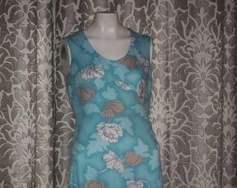 Vintage Blue Flower 1970's Maxi Dress & Shirt M
