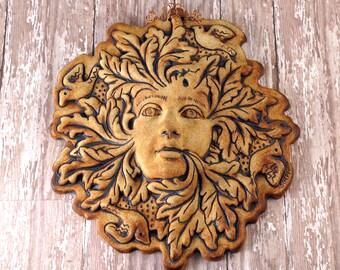 Pottery Greenman - Greenwoman - Goddess - Garden Green Man - Garden Decor - Gardener Gift Ideas - Yard Art - Housewarming Gift - 398