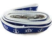 Dog Leash, Nautical, 1 inch wide, 1 foot, 4 foot, or 6 foot