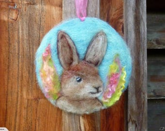 Wool  Hare / rabbit  art piece -  Waldorf inspired  - Nice birthday gift  - Needle felted in New Zealand wool - Easter