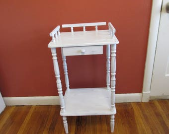 Drawer Stand Upcycled Vintage Side Table With Railing Distressed White