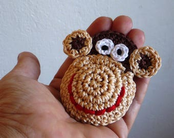 Crochet Monkey Brooch - Kids Jewelry - Crochet Monkey - Monkey Pin - Monkey Ornament - Gift for Kids - Baby Shower Gift - Everyday Gift