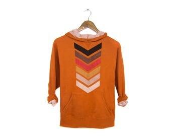 Geo Chevron Hoodie - French Terry Pullover, Slouchy Arrow Sweatshirt, Hooded Sweatshirt in Burnt Orange Heather - Women's Size S-XL