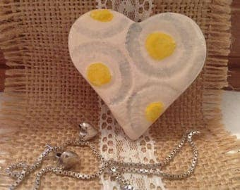 Heart brooch, pin,badge, ceramic jewellery.