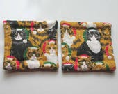 refrigerator magnets christmas kitties cats hand quilted stocking stuffer set of 2