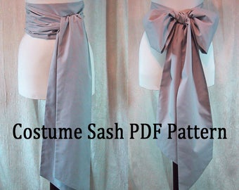 Sewing Instructions for Costume SASH - PDF Download - DIY - Sew Your Own Long Sash for Costume - Pirate Sash - Reenactment Costume Sash