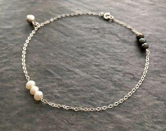 Pearl Ankle Bracelet. Black and White Freshwater Pearl Sterling Silver Bracelet. Genuine Pearl Anklet.
